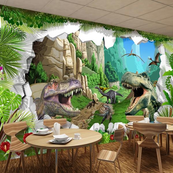Custom Mural Wallpaper 3d Cartoon Dinosaur Living Room Tv Background Wall Mural Childrens Room Bedroom Photo Backdrop Wallpaper