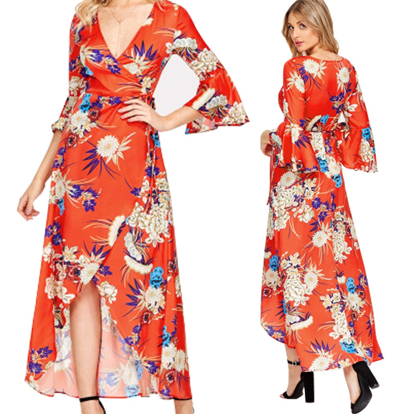 Floral Maxi Dress with Deep V Neck Flutter Sleeve Wrap Dress Plus Size  Asymmetric Hem Summer Dresses for Women Coral red Color 2018 Latest Design