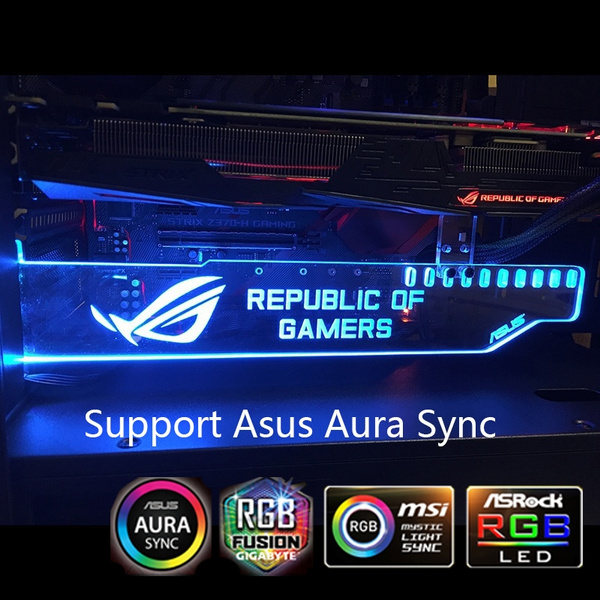 RGB ROG ASUS Aura sync Republic of Gamers Graphics Card Holder Frame  Bracket Gpu Support Bracket Pc Decoration LED Board Remote Multicolor