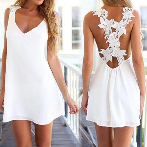 536fe0a2dd9 Femmes Robes de plage sexy dentelle blanche sans manches robe courte dos nu  LES