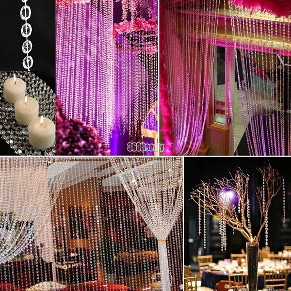1 Roll 33FT 10meters Curtain Diamond Strand Acrylic Crystal Bead Curtain Wedding DIY Party Craft Decor | Wish