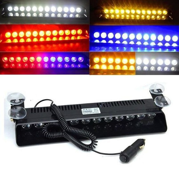 Police LED Flashlight 12 Led Windshield Warning Light Car Flashing Lightbar  Strobe Lights Truck Beacons Emergency Signal Lamp Automotive Car