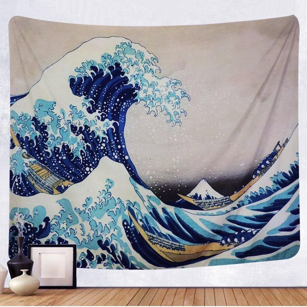Japanisch Wandteppich Vorhang Große Welle Kanagawa Ukiyoe Hokusai
