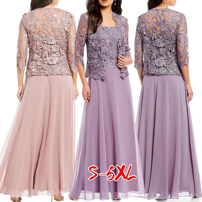 Details about Women Lace Wedding Guest Dress 3/4 Sleeve Two Piece Set Maxi  Dress Plus Size