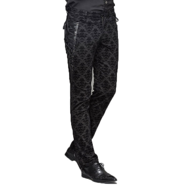 Devil Fashion Gothic Man Dress Pants Steampunk Black Casual Straight Trousers