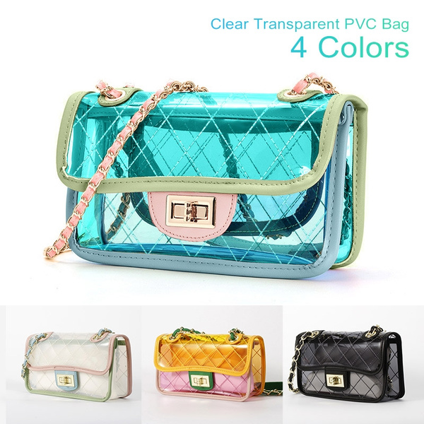 Women Tote Jelly Candy Summer Beach Crossbody PVC Transparent Clear Shoulder Bag