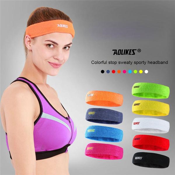 Women//Men Cotton Sweatband Headband Stretch Head For Sport Sweat Yoga Gym