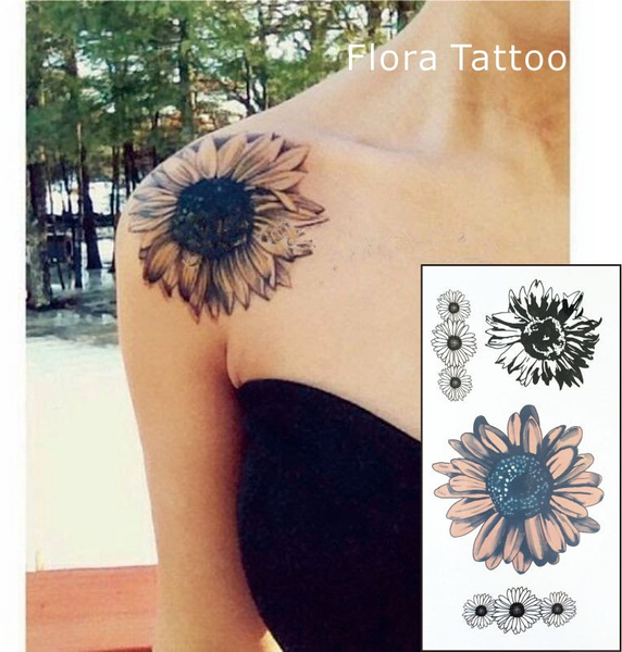 Sunflower Temporary Body Tattoo Daisy Flower Tattoos can be used for ...