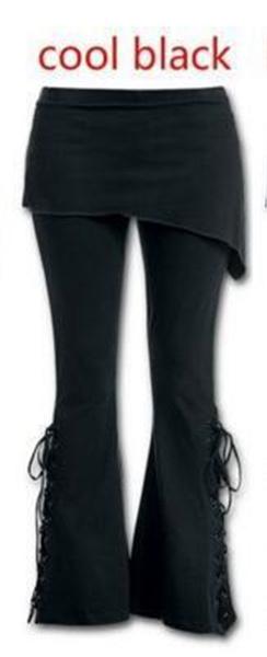 f571172d4ec8b4 Wish   Women 2 In 1 Boot Cut Leggings With Micro Slant Skirt Gothic Punk  Lace Up Bell Bottom Leggings Black S