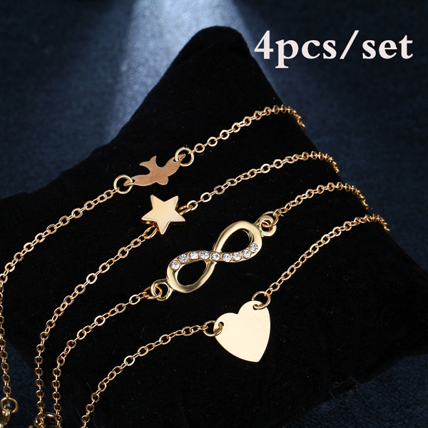 f3c49d5c27a9b 4PCS Simple Heart Peace Dove Infinity Star Bracelet Set for Women Charm  Chain Crystal Anklet Bracelets Pack Girls Jewelry Silver Gold Color