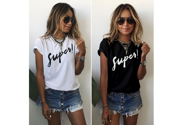 Women's Fashion Cotton Letter Printed Casual T-Shirt Top