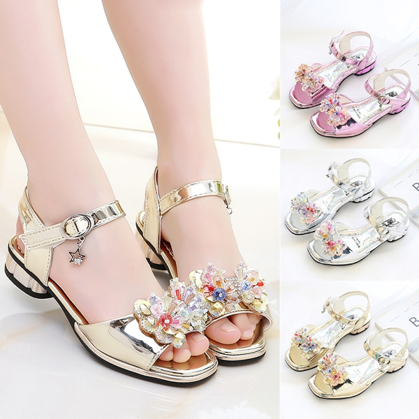 64d3df6fe 2018 Children Princess Glitter Sandals Kids Girls Soft Shoes Square Low-heeled  Dress Party Shoes Pink /Silver/Gold Size26-36 | Wish