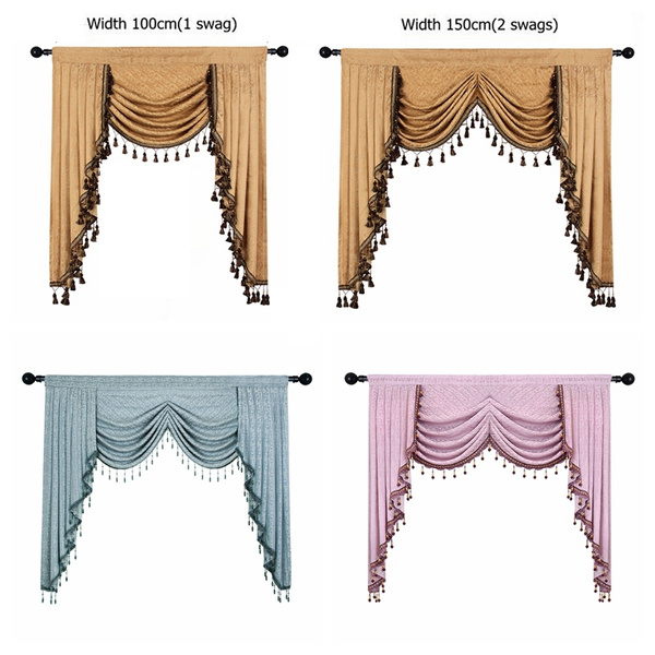 European Luxury Valances for Living Room Waterfall Valances for Kitchen  Modern Curtains for Living Room Swag Valances(Rod Pocket, 1 Piece)