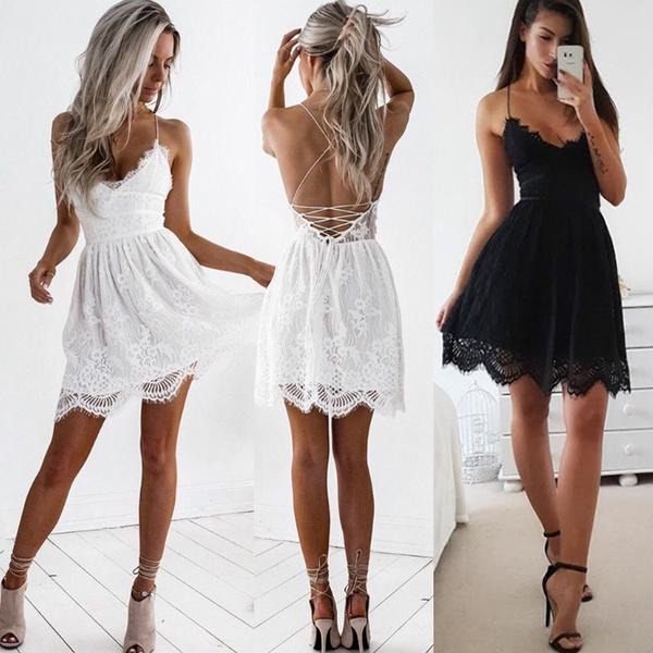 Mini, harnessdre, sleeveless, Shorts