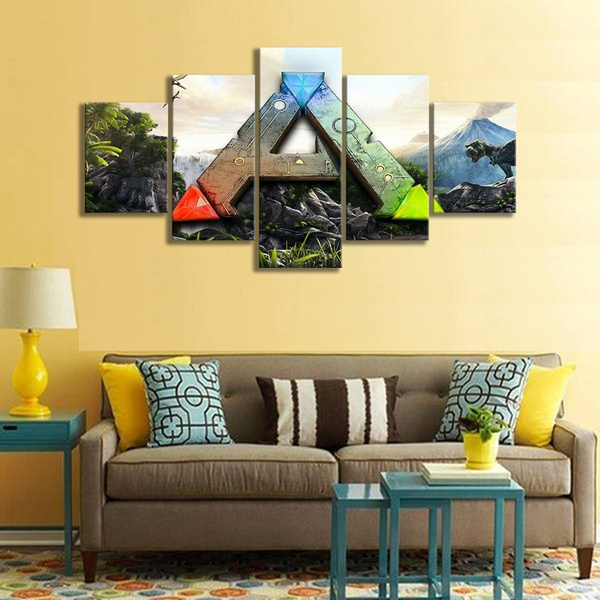 5 Panel Ark Survival Evolved Logo Game Canvas Printed Painting For Living Room Wall Art Decor Hd Picture Artworks Poster Unframed Wish