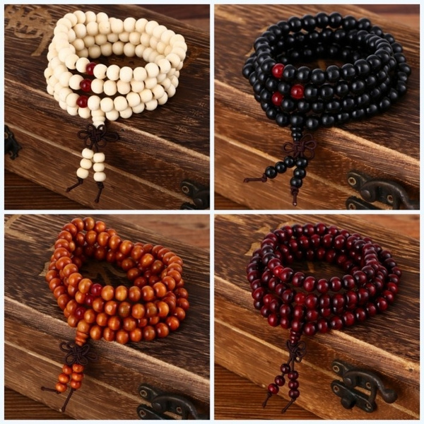 Wood Buddhist Buddha Meditation Prayer Beaded Mala Bracelet Unisex