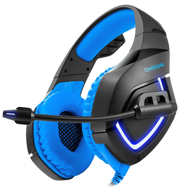 ONIKUMA Ps4 Gaming Headset with Soft Microphone LED Light for ps4 new xbox  one computer pc gamer bass gaming headphone - Black