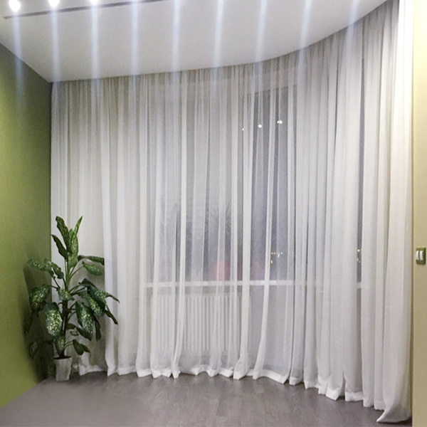White Tulle Curtains For Living Room Modern Solid Faux Linen Sheer Bedroom Kitchen Pencil Pleat 1 Piece