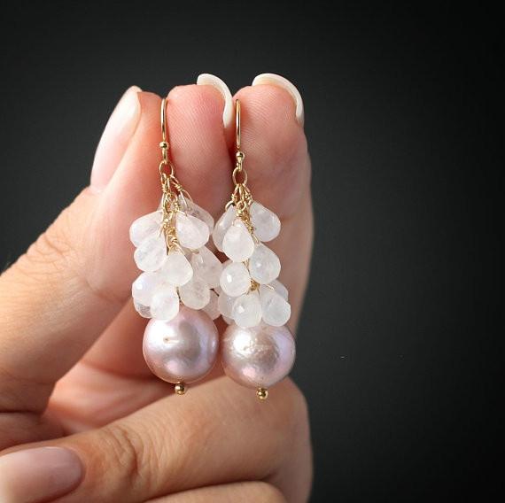 lavenderpearlearring, realpearlearring, Pearl Earrings, Earring