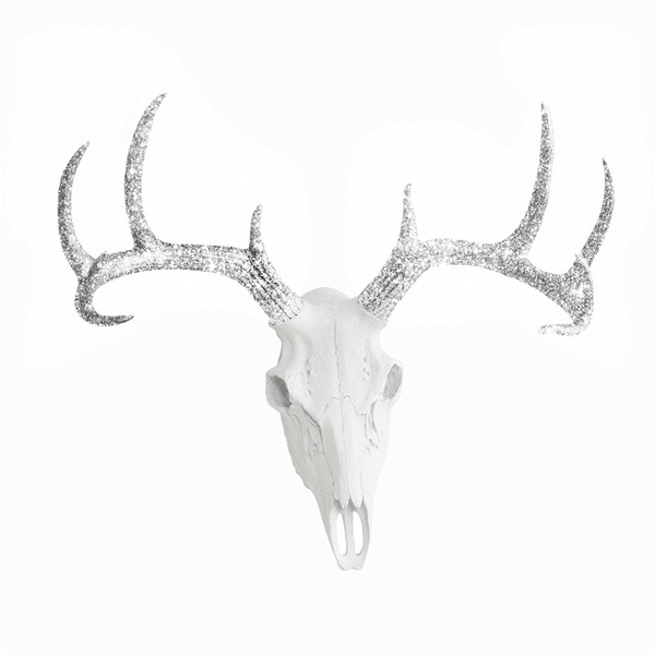 Deer Skull Animal Head By Wall Charmers Faux Fake Taxidermy Resin Antler Mount Decor Fauxidermy Plastic Mounted Ceramic Decorative Large Glitter