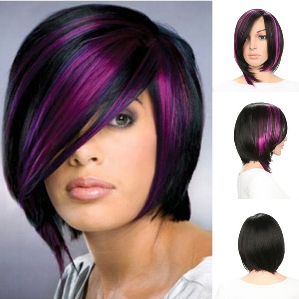 Super Cool Fashion Synthetic Short Bob Wig With Side Bangs for Women Mixed  Color Black \u0026 Purple Cosplay Wigs Fancy Dress Party Halloween Costume Hair