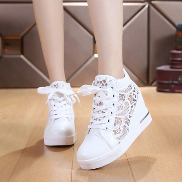 Women New Fashion Lace Up Casual White