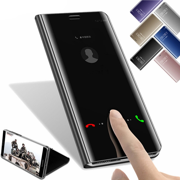 huge discount bff1f f6067 Fashion Mirror Flip Leather Case for Huawei P10 P10 Lite P20 Pro P20 Clear  View Window Stand Phone Cover for Huawei P20 Lite/ Mate10 Lite Case Coque