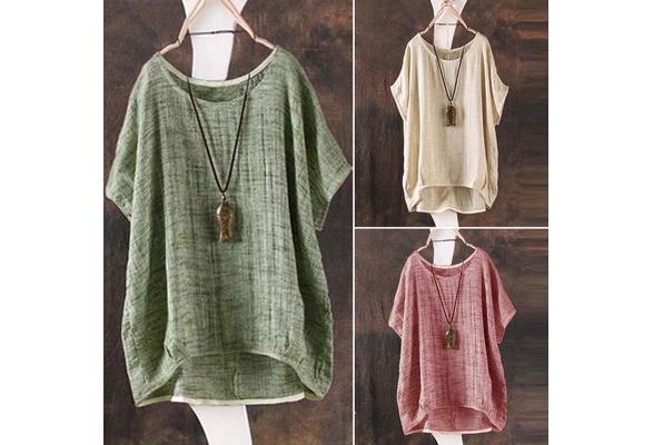 ZANZEA Casual Fashion Women O Neck Short Batwing Sleeve Blouse Top Summer Cotton Linen Pullover