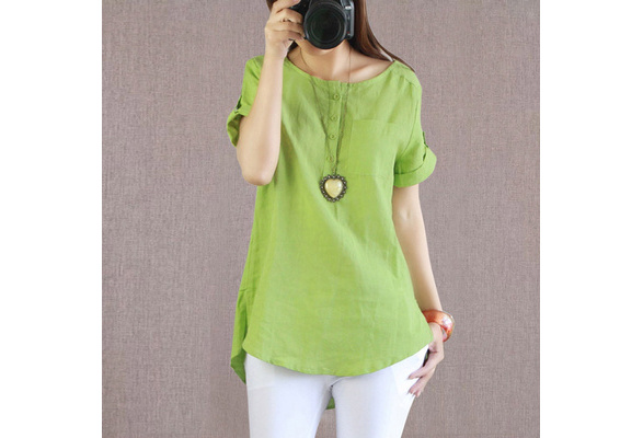 S-3XL Boho Women Cotton Linen Shirts Loose short Sleeve Mini Dress Irregular Baggy Shirt Top Blouse Tee