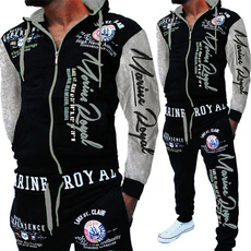 hoodiepants2piecesetsweatsuit, springandautumn, men's suits, letter print