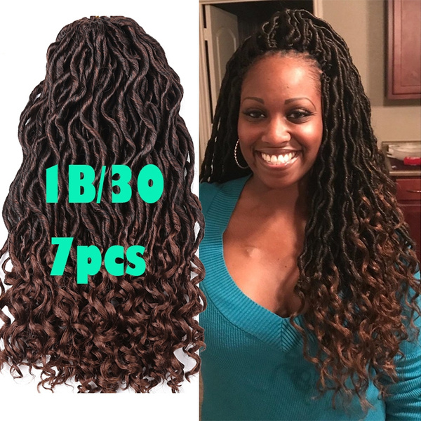 Faux Locs Curly Crochet Braids Synthetic Hair Extensions Braids