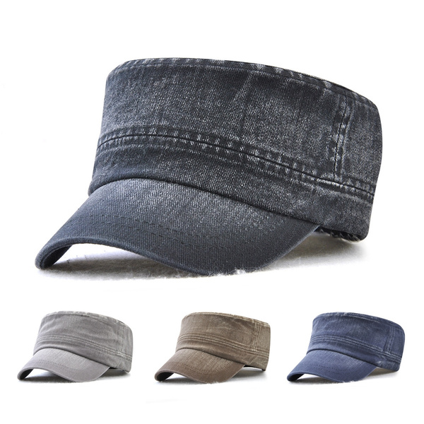 Classic Solid Color Cadet Army Cap Basic Everyday Military Style Hat  Vintage Cotton Flat Top Caps For Men Women