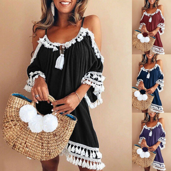 Women's Fashion, Tassels, Plus Size, halter dress