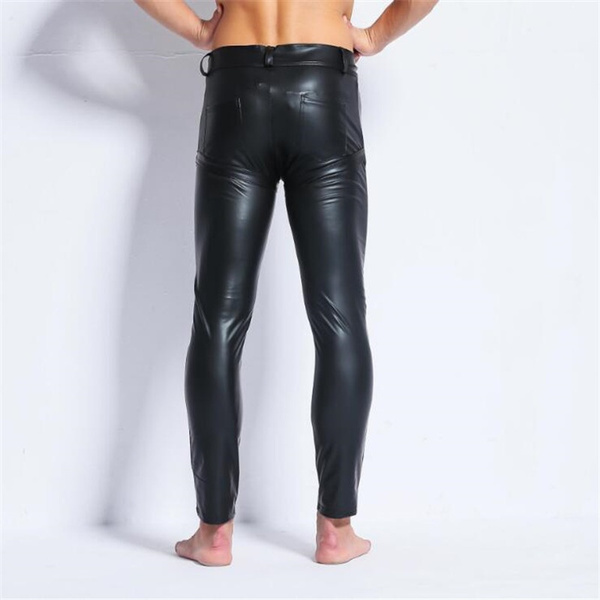 Wish Sexy Mens Black Faux Leather Pantsmens Long Trousersmens Novelty Skinny Muscle Tights Leggings Men Slim Fit Tight Pants