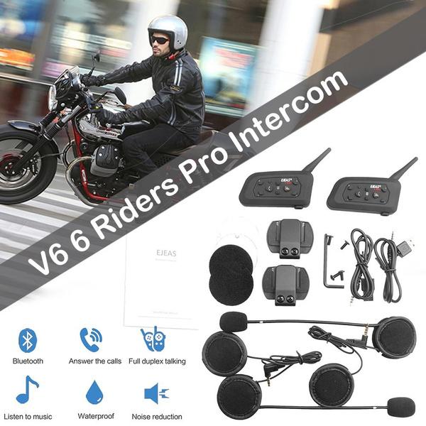 2Pcs EJEAS V6 Pro 1200M Motorbike BTOOTH Intercom Headset