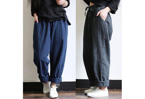 New S-5XL Unisex Pants Striped Vintage Drawstring Cotton Loose Casual Comfy Harem Trousers