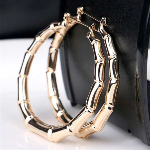 4be032c373789 New Fashion Gold/Silver Color Big Round Hoop Earrings Party Exaggerated  Bamboo Section Earrings for Women
