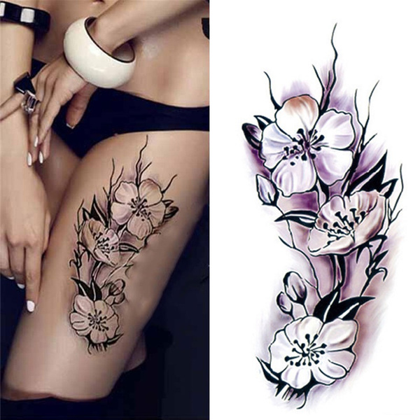 Purpurrot Blumen Tattoo Wasser Transfer Sticker Aufkleber Körper Dekoration