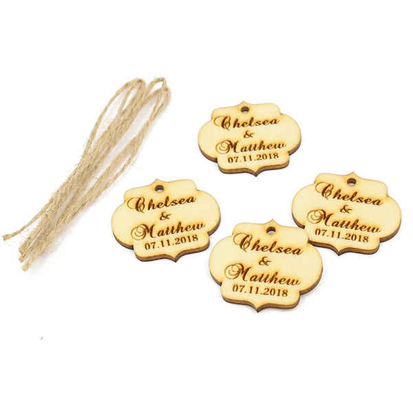 Wish 50pcs Personalized Laser Engraved Couple Names Wedding Tags