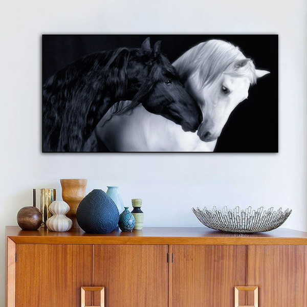 Black Horse And White Horse Intimate Oil Painting Canvas Wall Art Painting Black And White Animal Art Poster Wall Decor