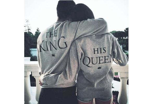 Couple Hoodie THE KING-HIS QUEEN Men Women Casual Lover Cotton Sweatshirts