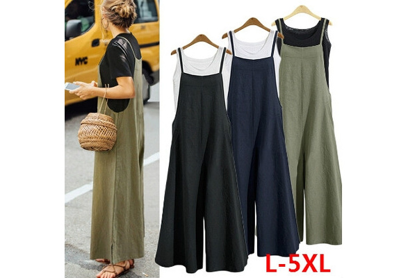 3 Color Spring and Summer Women's Fashion Jumpsuit Casual Loose Solid Tank Jumpsuit Long Suspender Overalls Bib Pants Rompers Wide Leg Pants