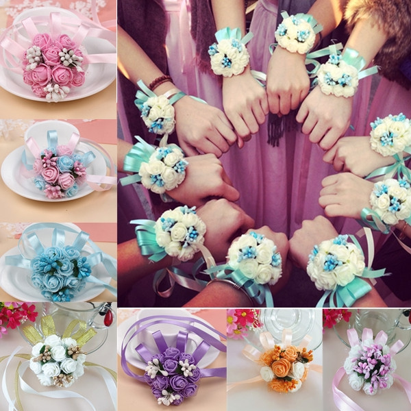 52d255d3dd Wrist Corsage Bridesmaid Sisters Hand Flowers Artificial Bride Flowers For  Wedding Dancing Party Decor Bridal Prom