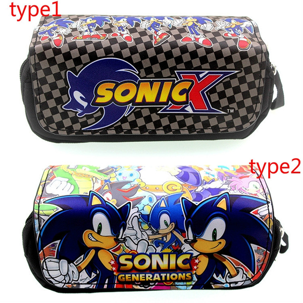 Anime Game Sonic The Hedgehog Pencil Case Large Capacity Double Zipped Pencil Bag Student S Coin Purse The Stationery Wallet Wish