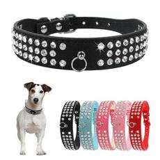 Medium, Dog Collar, Suede, rhinestonedogcollar