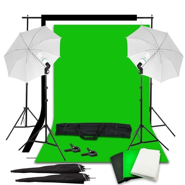 Professional Photo Studio Photography Lighting Kit Light Stands Green  Screen Backdrop Softbox