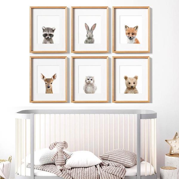 Baby Animal Prints Nursery Wall Decor Woodland Animals Art Rac Print Owl Fox No Frame