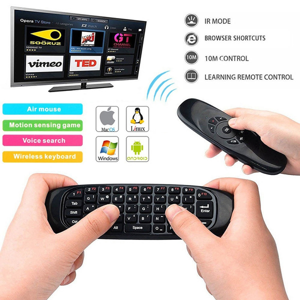 Pro C120 2 4G Wireless Air Mouse and Qwerty Keyboard with IR Learning  Remote Control for PC HTPC IPTV Smart TV Android