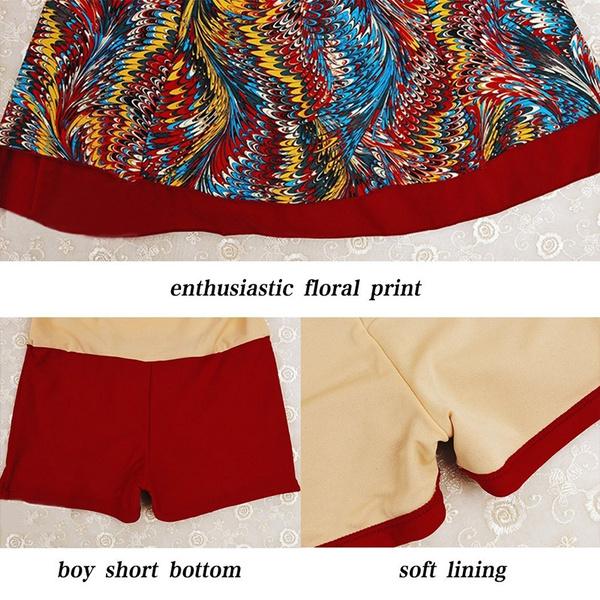 MiYang Womens Plus Size Printing Padded High Waist Swimdress