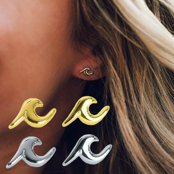 34790b21c Nature Beach Ocean Wave Stud Earrings Wave Earrings for ...